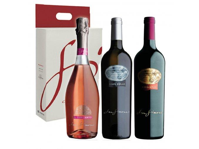 Dárkový balíček San Simone Rosé IL Concerto Brut Pinot Grigio DOC Selezione Cabernet Franc DOC RE SUGANO