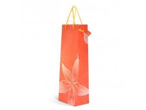 Papírová taška červená s květem