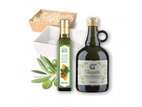 Dárkový balíček Olearia del Garda BAZALKOVÝ Olivový olej ochucený Olivový olej extra panenský L'Augusto