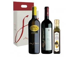 Dárkový balíček San Simone Friulano DOC Selezione Cabernet Sauvignon DOC Riserva Nexus olivový olej lanýž