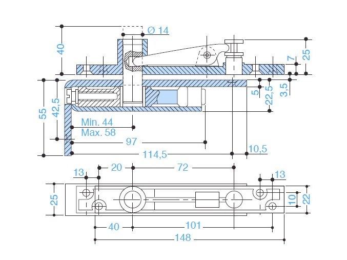 Horní čep pro jednokřídlé dveře AC384