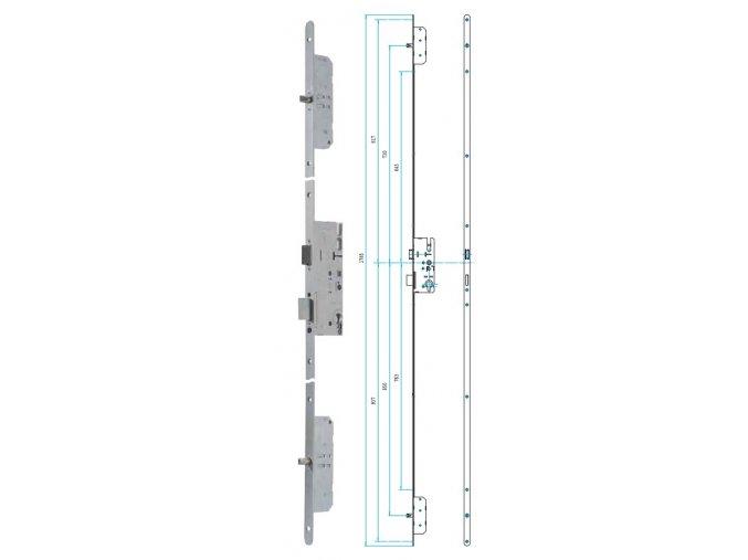 Zámek X57 - celoplošný vícebodý zadlabací zámek mechanický
