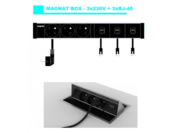 Magnat BOX 039 -  3x 230V+ 3xRJ-45