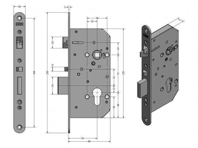 ERBI ME 7255 - mechanický samozamykací zámek