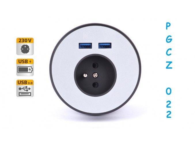Panel do průchodky, 1x el., 1x USB 3.0, 1x USB nabíjení - PGCZ 022