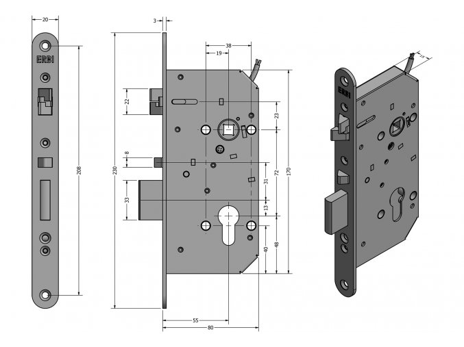 ERBI SAM EL 7255 hluboký samozamykací zámek