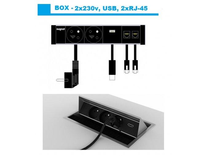 Magnat BOX 029 -  2x 230V+2xRJ-45+USB