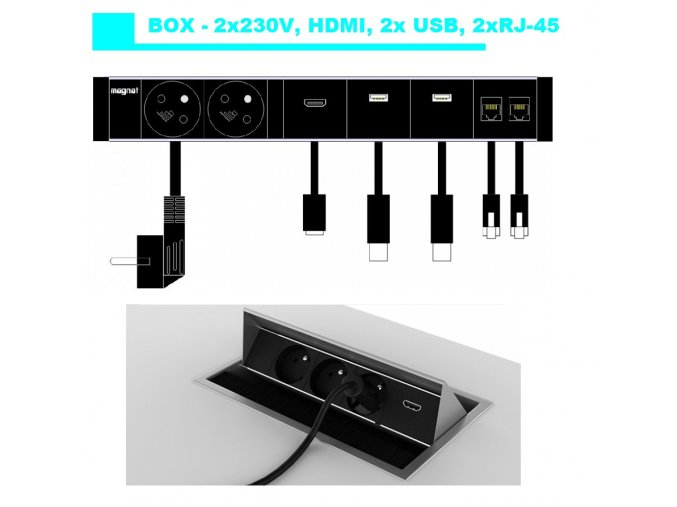 Magnat BOX 027 -  2x230v+HDMI+2xUSB+2xRJ-45