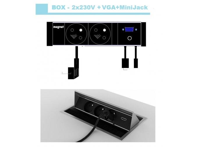 Magnat BOX 021-  2x 230V+VGA+MiniJack 3,5mm
