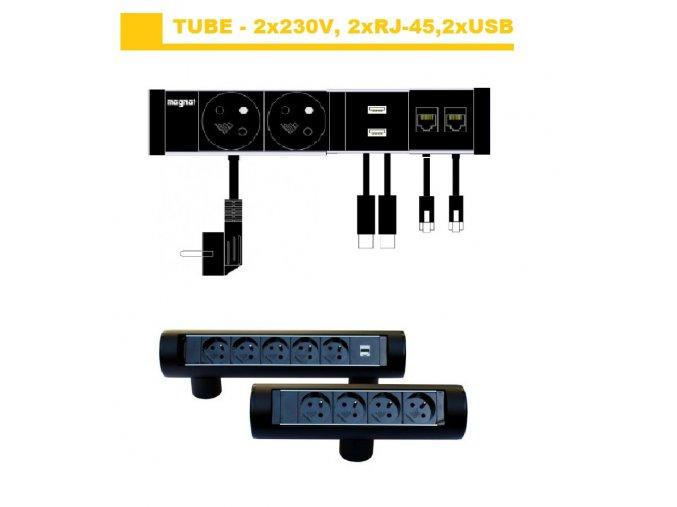 Magnat Tube02 - 2x230V + 2xRJ-45+2xUSB 2.0