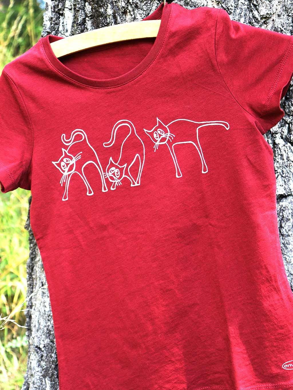 Dívčí tričko biobavlna červené kočky