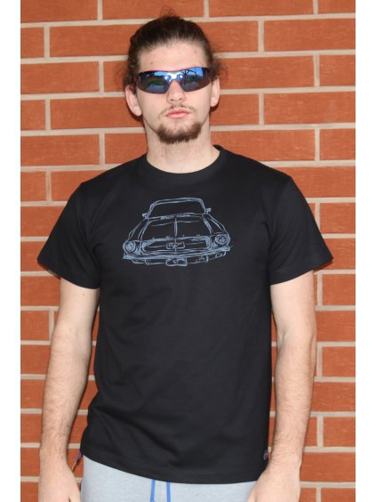 Pánské tričko Old Car´S Mustang 69 černé/sv.modrý potisk