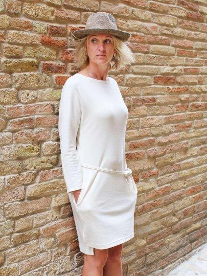 Šaty s dlouhým rukávem biobavlna natur bez potisku