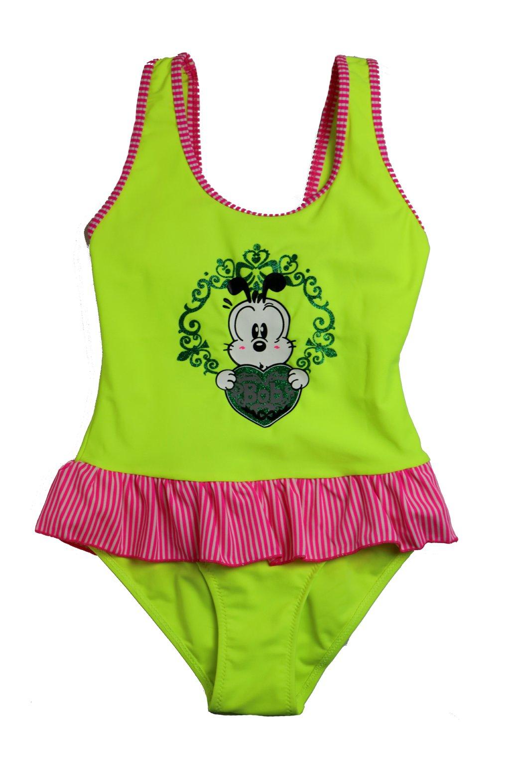 Dívčí jednodílné plavky T075 zelená