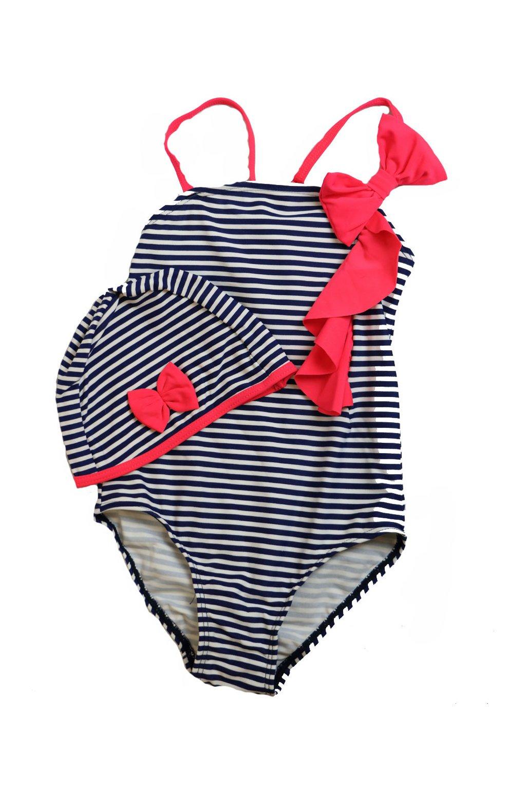 Dívčí jednodílné plavky s čepičkou T092