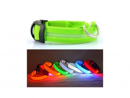 LED USB dobíjecí svítící obojek pro psy Velikost M : 40 - 48 cm  x  2.5 cm