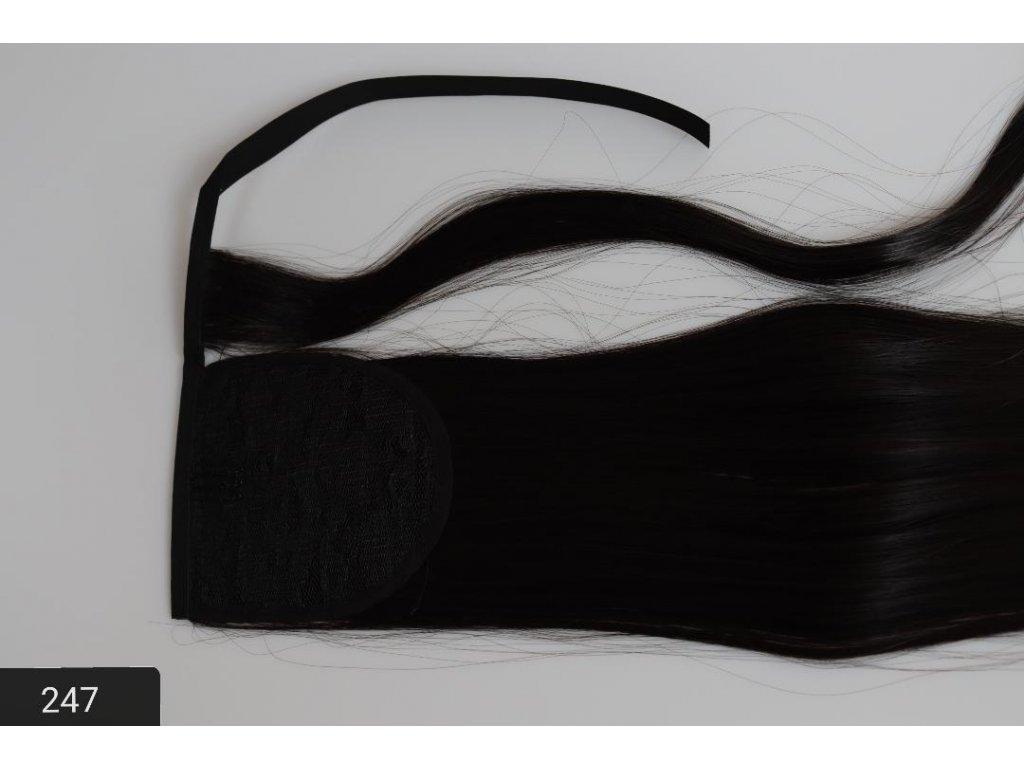 príčeskový cop - černý se šnurkou