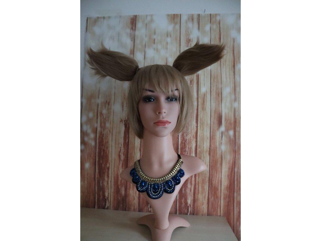 Krátká blond cosplay paruka s ušima
