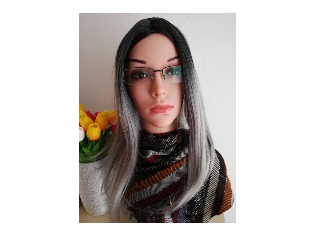 Charlotte - ombre černá - šedá paruka