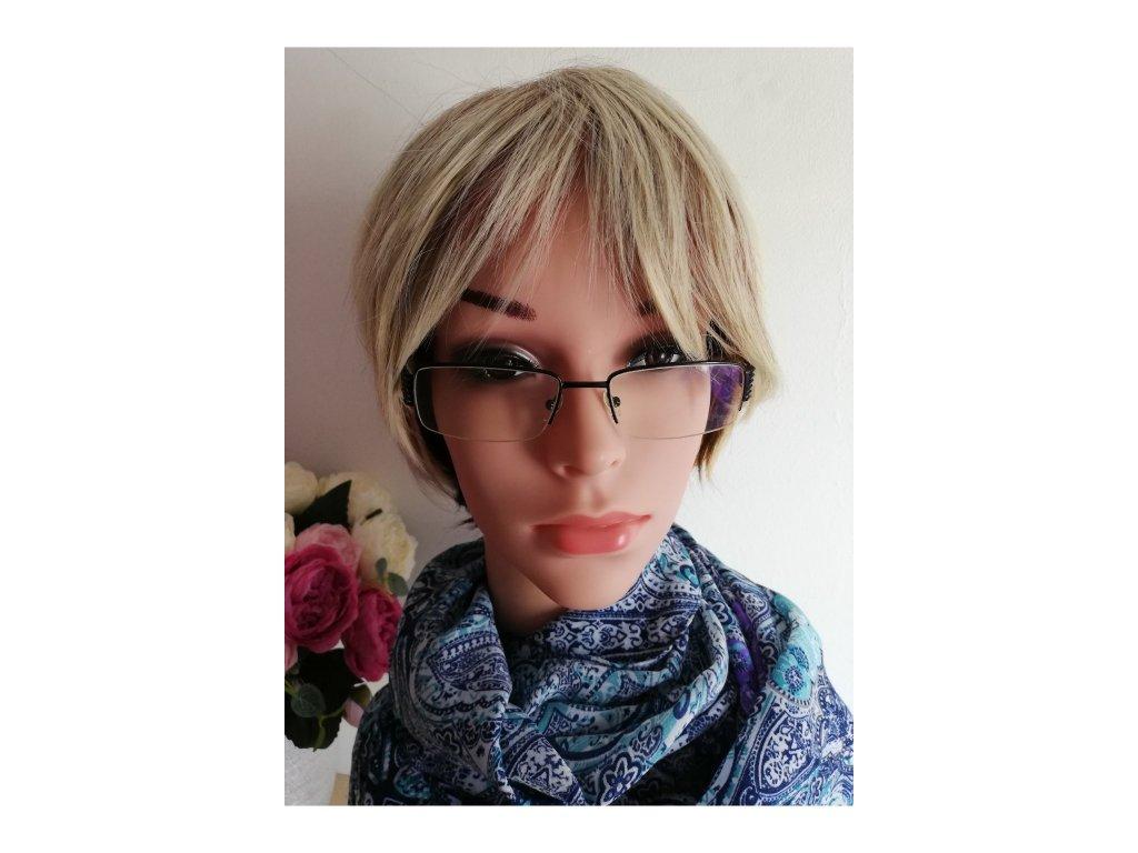 Hannah - krátká melirovaná blond paruka