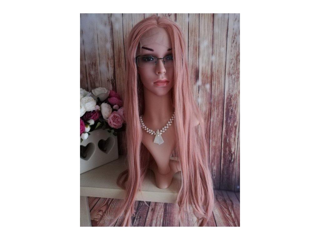 Daisy - lace front dlouhá růžová paruka