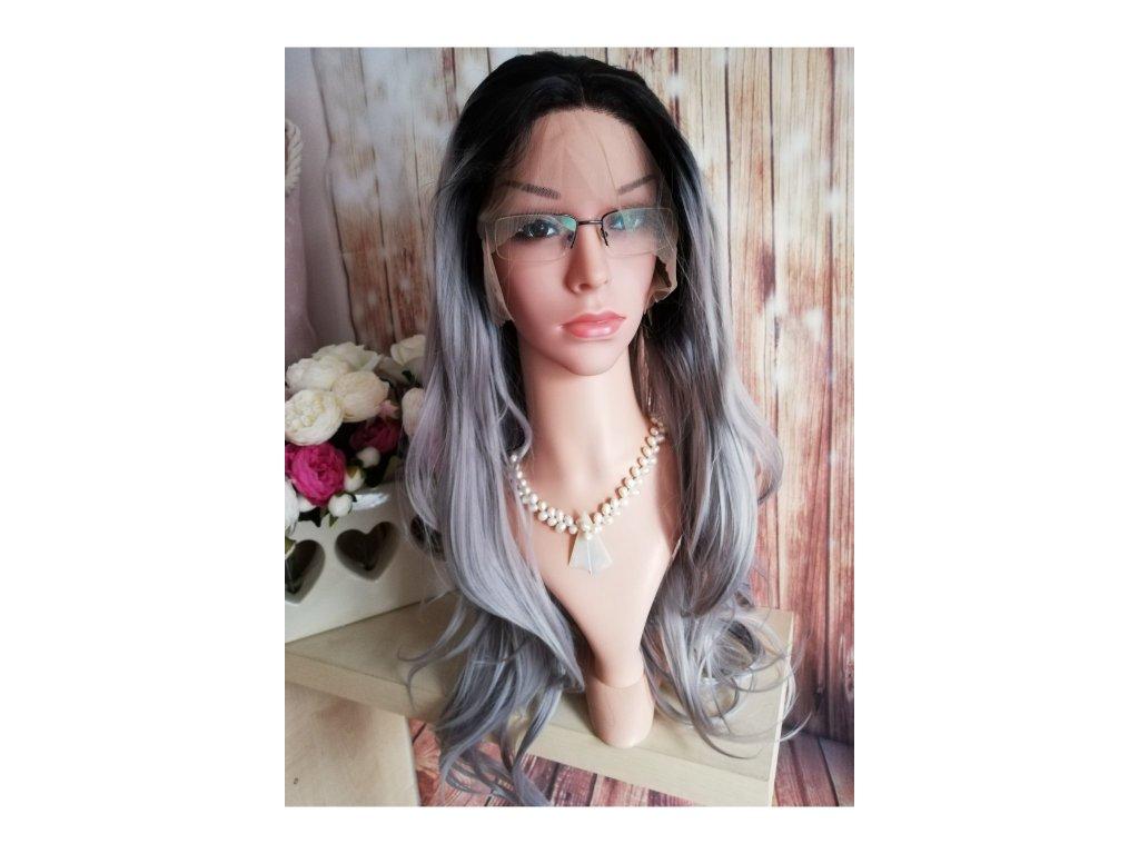 Cheryl - lace front ombre černá - šedá paruka
