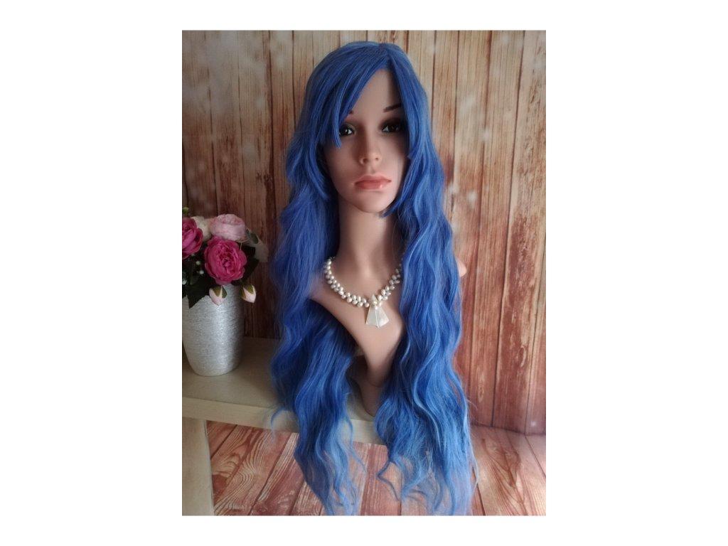 Margaret - dlouhá modrá vlnitá paruka