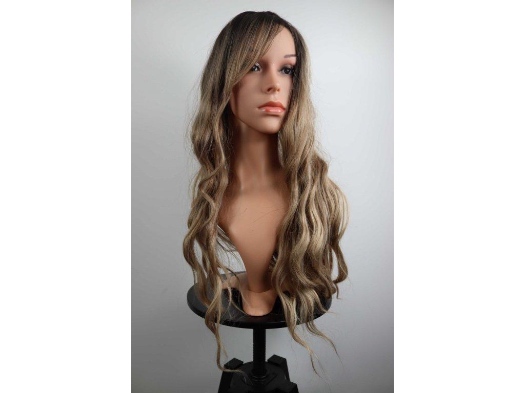 Anita - dlouhá hnědá blond ombre paruka