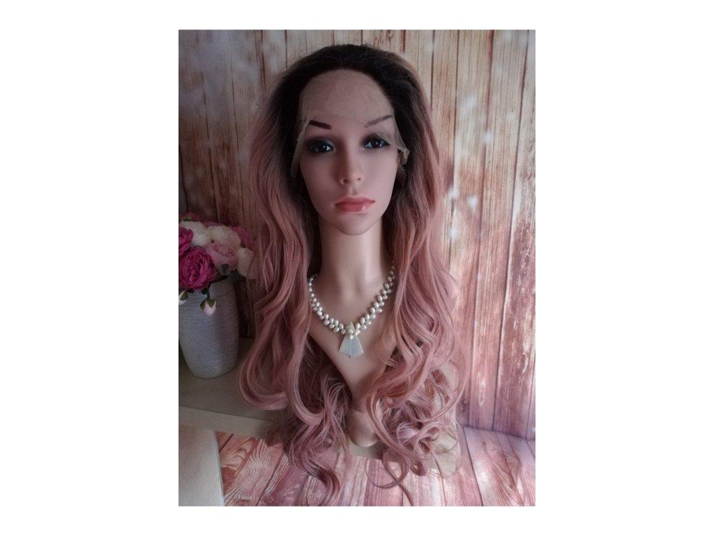 Bella - lace front černá růžová paruka