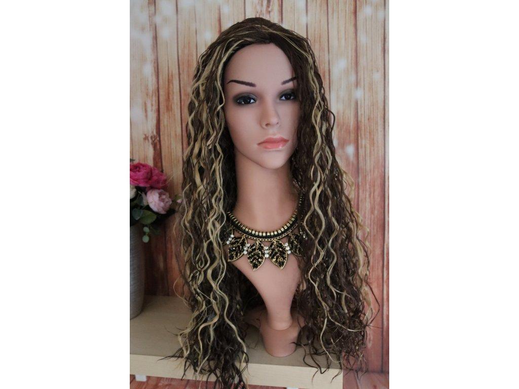 Lauren - dlouhá hnědá blond ombre vlnitá paruka