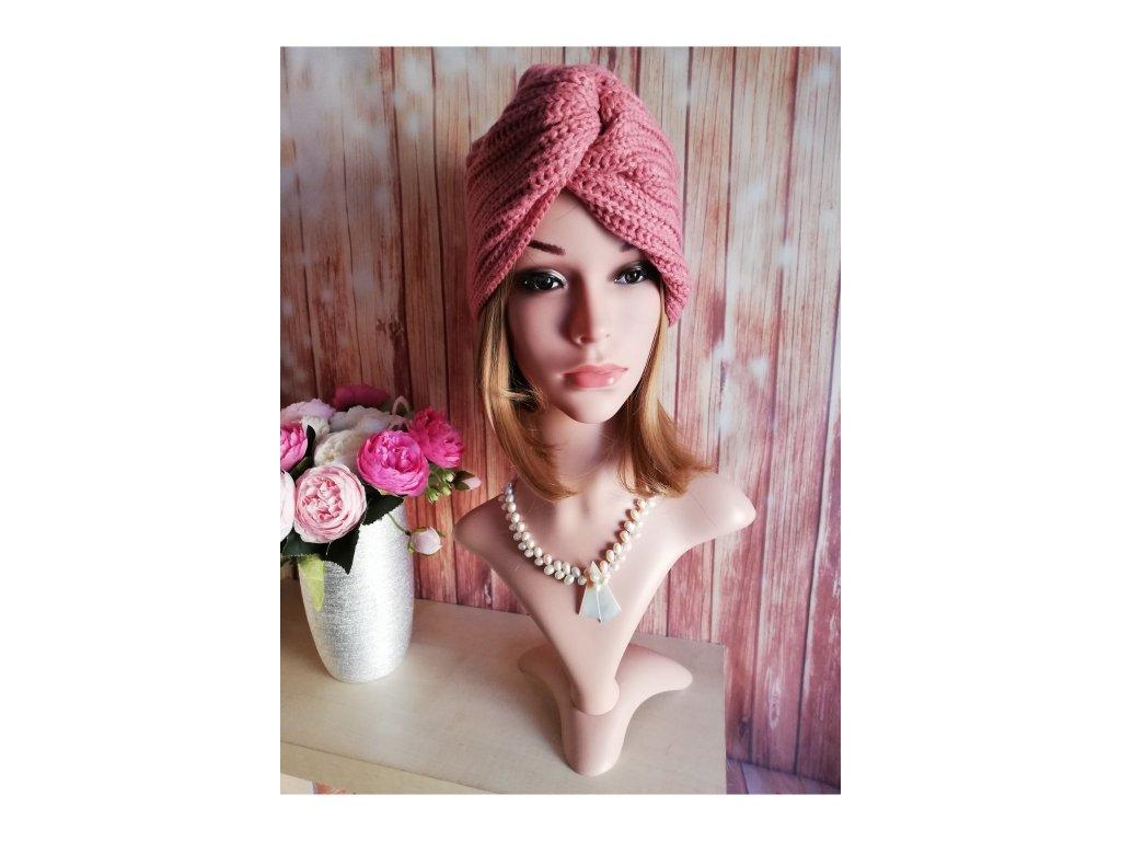 Dámsky Turban z vlny - růžový