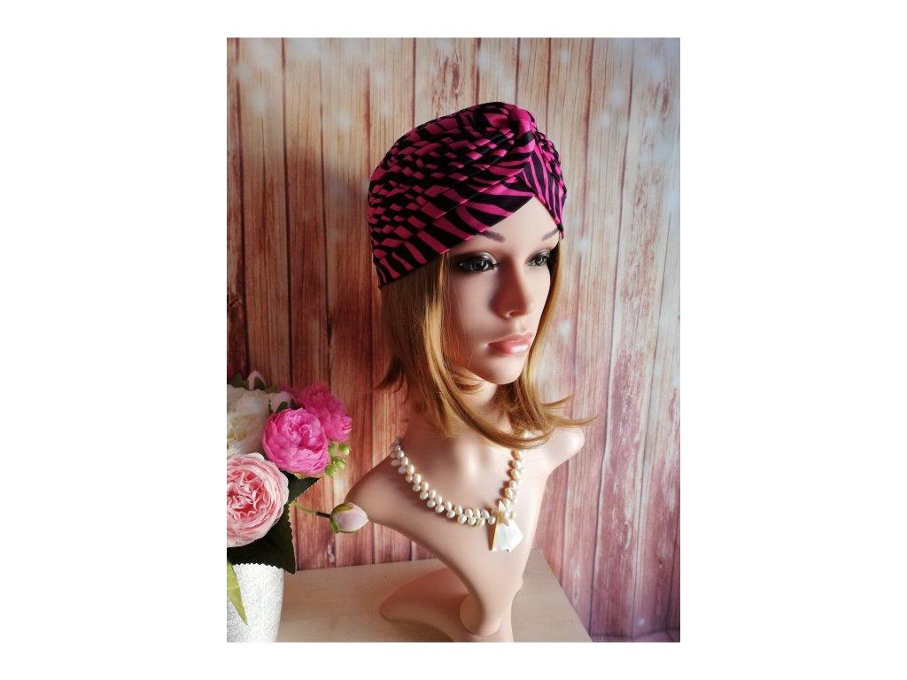 Dámsky Turban - černo - růžový