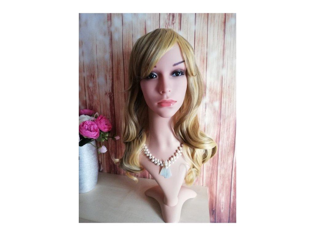 Amber - dlouhá blond hnědá vlnitá paruka