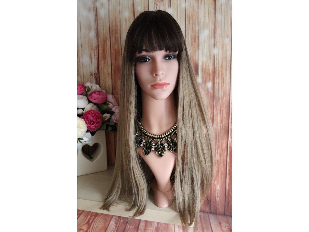 Elisa - dlouhá ombre hnědá blond paruka