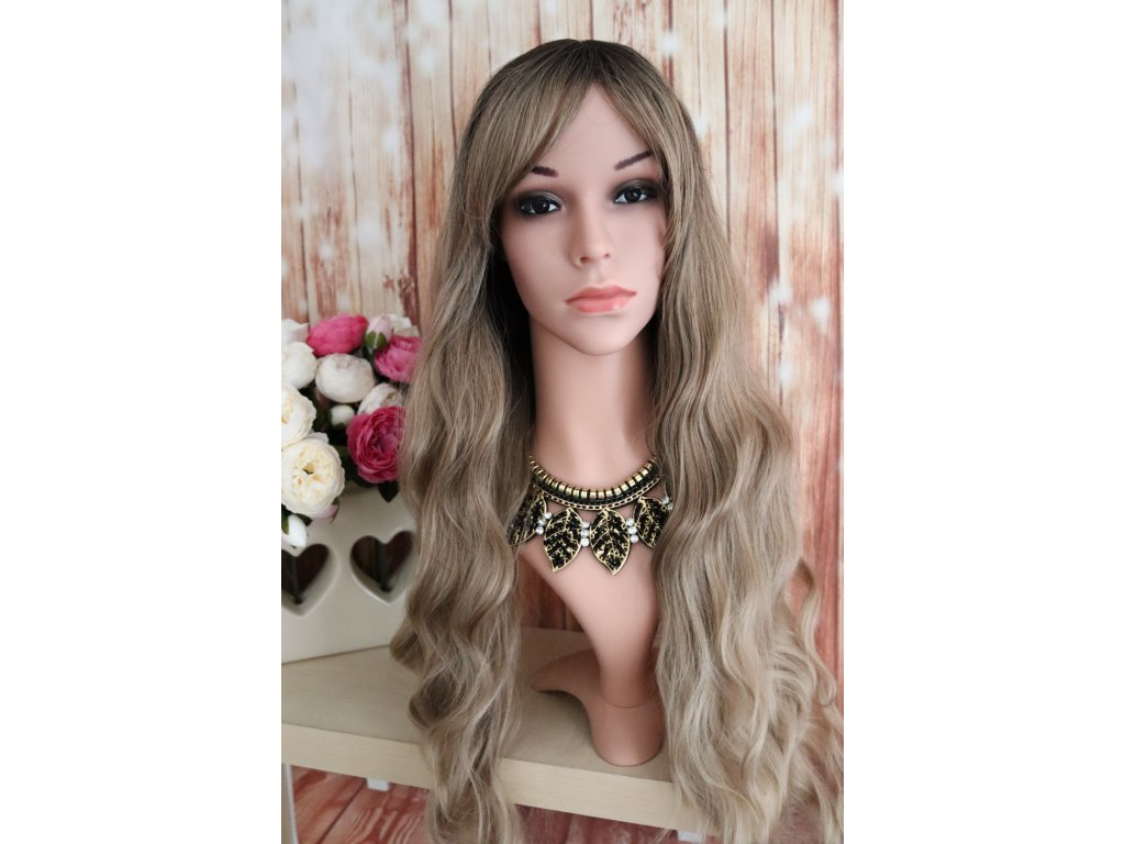 Anita - dlouhá vlnitá hnědá blond ombre paruka