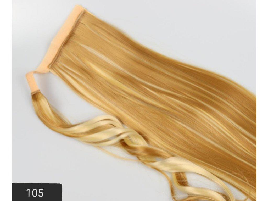príčeskový cop - blond s melírem 105