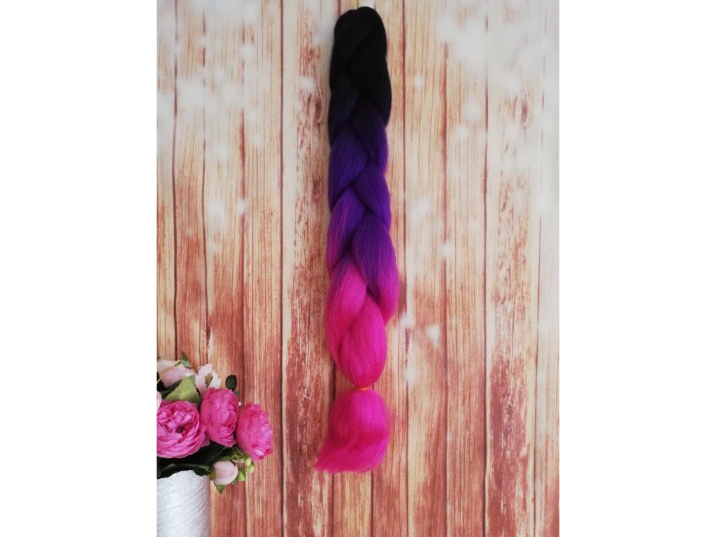 Kanekalon - barevné copánky - černo - fialovo - růžové - B50