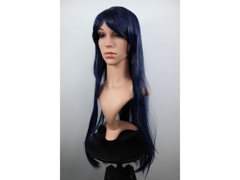 Emily - dlouhá tmavě  modrá paruka