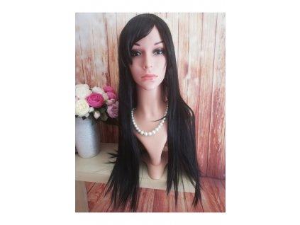 Izabel - dlouhá černá rovná paruka