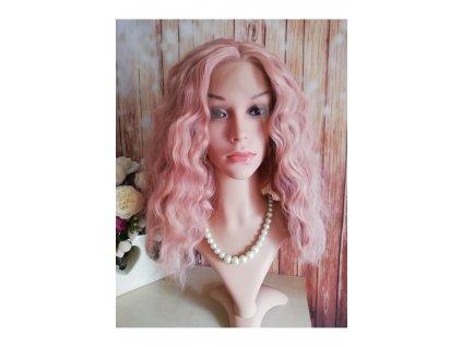 Carmen - lace front kudernatá růžová paruka
