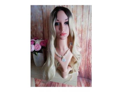 Alexa - dlouhá blond černá ombre vlnitá paruka