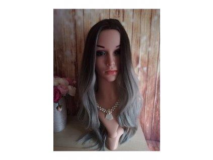 Sienna - dlouhá černá - šedá paruka