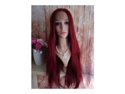 Kayla - lace front červená dlouhá paruka