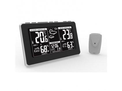 TE82 Solight meteostanice, extra velký LCD displej, teplota, vlhkost, RCC, černá, stříbrná, teplotní alarm