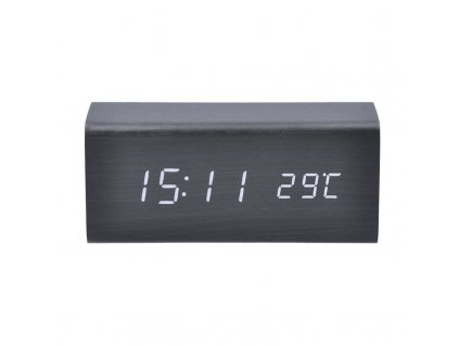 CA01B Solight hodiny s budíkem, bílé LED podsvícení, tři budíky, nastavitelná intenzita podsvícení, teploměr, dekor: černé dřevo