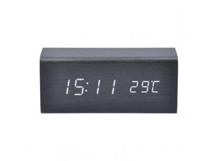 Solight hodiny s budíkem, bílé LED podsvícení, tři budíky, nastavitelná intenzita podsvícení, teploměr, dekor: černé dřevo