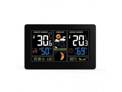TE81 Solight meteostanice, extra velký barevný LCD, teplota, vlhkost, tlak, RCC, USb nabíjení, černá