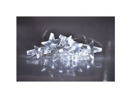1V52-W Solight LED vánoční řetěz, hvězdy, 1,5m, 10x LED, 2x AA, bílé světlo
