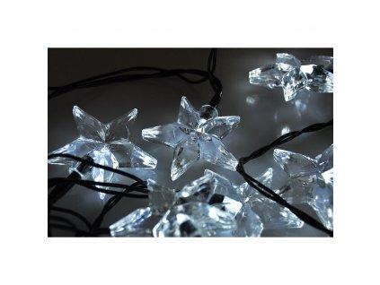 1V30-W Solight LED vánoční řetěz, hvězdy, 20 LED, 3m, přívod 3m, IP20, bílá