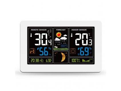 TE81W Solight meteostanice, extra velký barevný LCD, teplota, vlhkost, tlak, RCC, USB nabíjení, bílá